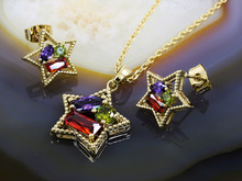 Set Placat Cu Aur 18k, model Stea cu Zirconiu Multicolor cod 206